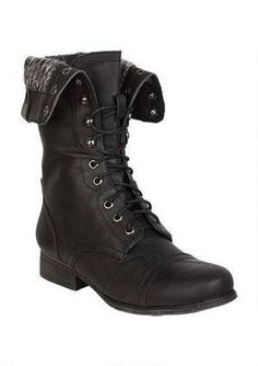 Details about Pu Fold Over Cuff Lace Up Military Combat Boots ...