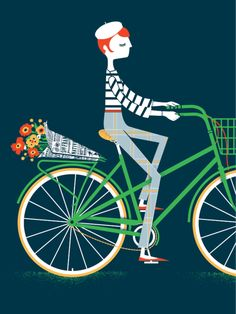 Lady on a Bike by JCardinalli on Etsy paris on a bike fench chic graphic art print Art And Illustration, Illustrations Posters, Bicycle Illustration, Bicycle Art, Poster S, The Design Files, Blog Design, Oui Oui, Mail Art