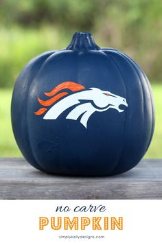Make a no carve pumpkin of your favorite NFL football team. This pumpkin is for my favorite Denver Broncos!