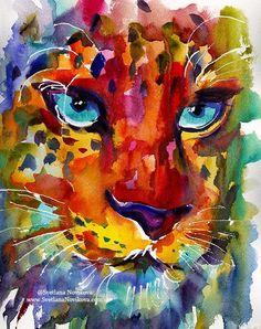 Colorful Watercolor Leopard Art Painting Photo Print Svetlana Novikova Pop Art Bilder, Mediums Of Art, Impressionist Paintings, Rainbow Art, Watercolour Painting, Watercolors, Painting Art, Whimsical Art, Ink Art