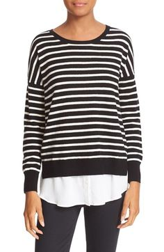 Free shipping and returns on Joie Luus Layered Look Stripe Wool & Cashmere Sweater at Nordstrom.com. A woven shirttail hem, complete with button placket, creates a trend-right layered look for a slouchy drop-shoulder sweater knit from a plush wool-and-cashmere blend. Skinny black-and-white stripes add graphic punch.
