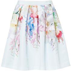 Ted Baker Thyra Hanging Garden Full Skirt, Mint ($200) ❤ liked on Polyvore featuring skirts, pleated skirt, full flared skirt, zipper skirt, knee length lace skirt and reversible skirt