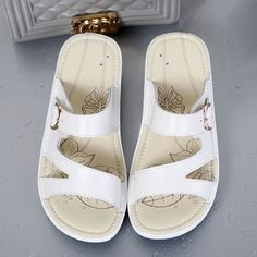 c455d5b9e Women Casual Leather Slip On Flat Platform Sandals Flat Platform Sandals