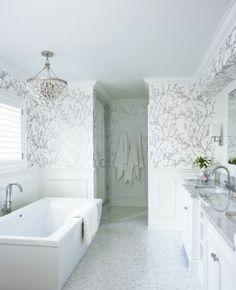 White interiors - www.myLusciousLife.com - houseandhome.com Wallpapered Rooms - bathroom.jpg