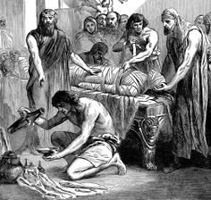 """19th-century illustration, """"Process of Embalming."""" A body is preserved, or mummified, a common funerary practice in ancient Egypt."""