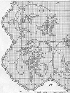 Kira scheme crochet: Tulip motif for tablecloths and curtains Filet Crochet Charts, Crochet Borders, Crochet Diagram, Crochet Motif, Crochet Doilies, Crochet Stitches, Crochet Patterns, Cross Stitch Borders, Cross Stitch Designs