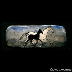 Grey Mare and Foal Barrette. Horse. Blue. Black.. $32.00, via Etsy.
