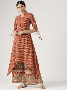 Buy Libas Women Red & Beige Printed Kurta With Palazzos - Kurta Sets for Women from Libas at Rs. Style ID: 5596545 Dress Neck Designs, Stylish Dress Designs, Stylish Dresses, Casual Dresses, Maxi Dresses, Dress Indian Style, Indian Fashion Dresses, India Fashion, Indian Wear