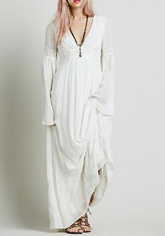 Elegant Plunging Neck Flare Sleeve Solid Color Embroidery Women's Maxi Dress Maxi Dresses | RoseGal.com Mobile