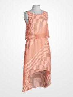 Steve Harvey Coral Multistripe Hi-Low Hem Dress
