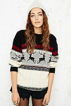 Vintage Renewal Reindeer Knit Jumper bei Urban Outfitters