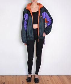 f663b87d7d 90 s Nike nylon jacket vintage unisex black by WoodhouseStudios Orange  Jacket