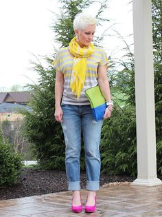 Color makes me happy. VS jeans, Express scarf, NY tee and Aldo shoes.