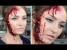 There are only so many Jack Sparrow and Frozen Elsa costumes allotted per Halloween party in October. Which means a little gore makeup know. Scary Makeup, Sfx Makeup, Makeup Art, Wound Makeup, Diy Zombie Makeup, Halloween Looks, Creepy Halloween, Halloween Party, Gory Halloween Makeup