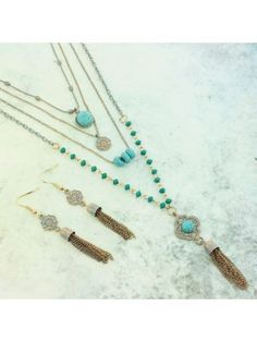 Antique Goldtone and Turquoise Layered Necklace and Earring Set #OS04328-AGTQS | eWAM