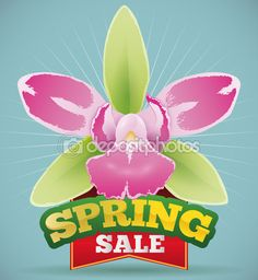 Pretty Orchid with Red Ribbon Announcing Spring Sale Season, Vector Illustration Free Vector Images, Vector Free, Spring Sale, Red Ribbon, Orchids, Seasons, Illustration, Pretty, Color