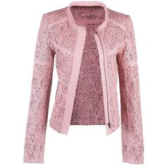 Laser Cut Leather Jacket (€425) ❤ liked on Polyvore featuring outerwear, jackets, pink jacket, real leather jackets, leather jackets, genuine leather jackets and 100 leather jacket