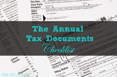 The O.C.D. Life: The Annual Tax Documents Checklist + Printable!