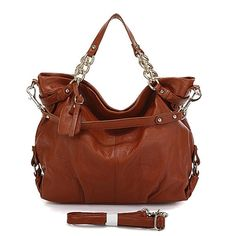ITALIAN LEATHER Handbag Brown Large Size Hobo Tote by artitianus, $145.00