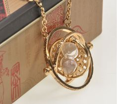 Harry Potter Time Turner Necklace ~ Rotating Spins Gold Hourglass