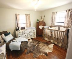 Minus the hide this is super cute.. vintage, rustic, country nursery