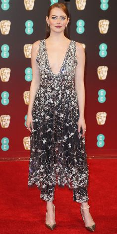 See All the Best Looks from the 2017 BAFTA Red Carpet - Emma Stone from InStyle.com