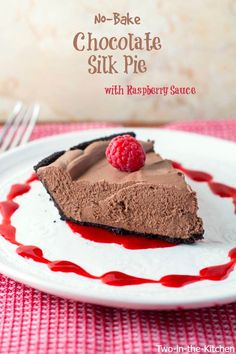 No-Bake Chocolate Silk Pie with Raspberry Sauce   Two in the Kitchen