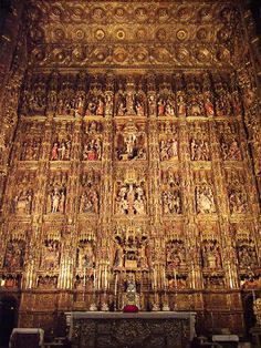 """Pierre Dancart Altarpiece, Cathedral, Seville, Spain. I've been here. Incredible. Those who designed it said, """"Let a church so beautiful and so great that those who see it built will think we were mad""""."""
