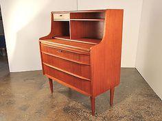 Danish Modern Teak Dresser Secretary Writing Desk or Vanity with Mirror   eBay