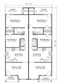 This contemporary duplex plan will add class to any neighborhood. Brick columns and a hip roof enhance this two-bedroom plan complete with a large kitchen. 2bhk House Plan, Garage House Plans, Cottage House Plans, Duplex Floor Plans, Apartment Floor Plans, House Floor Plans, Two Bedroom Floor Plan, Three Bedroom House Plan, Rectangle House Plans