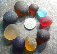 Bubbles and rounded English sea glass by jazomir on Etsy, $60.00