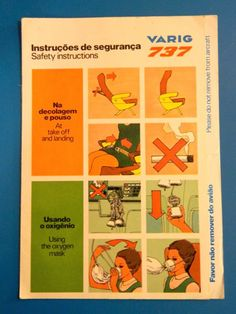 VARIG AIRLINES VINTAGE SAFETY CARD B737
