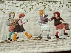Hand Applique, Wool Applique, Applique Patterns, Applique Quilts, Embroidery Applique, Quilt Patterns, Hand Quilting Designs, Art Textile, Doll Quilt