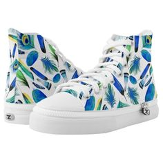High Tops with a pattern of blue, green, and yellow feathers.