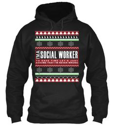 I Am Social Worker Christmas Hoodie Black T-Shirt Front
