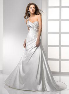 shoulders strap satin wedding dresses #341