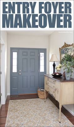 Paint the inside of your front door to add a pop of color to your entry foyer!
