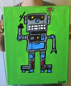 Robot lesson acrylic paint on canvas. Used paint pens for outlining and white highlights.