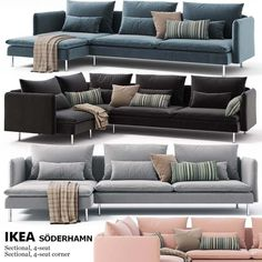Corner Sofa - Obtain The Furniture You Desire With These Tips Ikea Sofa Set, Ikea Corner Sofa, Ikea Couch, Divan Lit Ikea, Ikea Living Room, Living Room Furniture, Sala Ikea, Interior Design Living Room, Living Room Designs