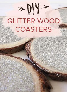 DIY Champagne Glitter Wood Coasters, rustic wedding DIY crafts and decor ideas. Shop the video >