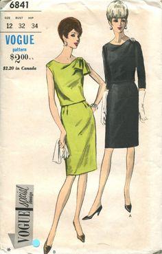 Vogue Pattern 6841 Bloused Draped Bodice Slim Skirt Dress Sleeveless or 3/4 Sleeves