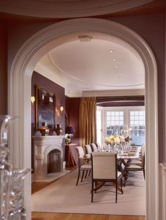 Burgundy Dining Room with Big Windows