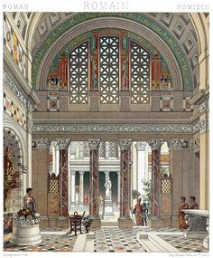 Rome: reconstruction of the interior of a palace.  Auguste racinet, from Le costume historique (The costume history) vol. 2, under the direction of A. Racinet, Paris, six volumes published between 1877 and 1886.  (Source: archive.org)