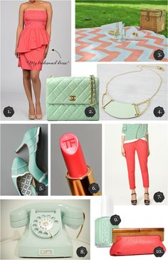 I am SO crazy about these colors right now for Spring coming...LOVE Mint Green and Coral. Turquoise and Blush too.