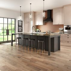 A hardwood floor, combined with a soft lighting and large windows, brings warmth and peace in this modern photorealistic kitchen. Large Windows, 3 D, Hardwood Floors, Kitchen Design, Design Inspiration, Peace, Lighting, Modern, Table