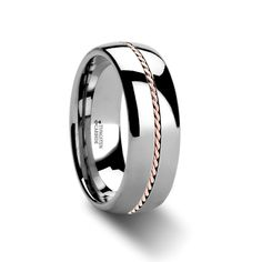 Tungsten Wedding Bands | Woven 18k Rose Gold Inlay Domed Tungsten Ring - 8 mm | Larson Jewelers