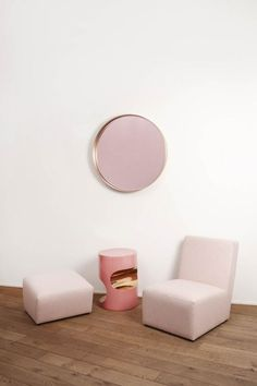 'La vie en rose' Mirror, 'Petit Frank' armchair and 'Fetiche' side table. All pieces designed by Herve Langlais for Galerie Negropontes.
