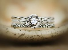 Three Ring Rose Engagement Set with White Sapphire in Sterling - Silver Twist Band and Swirl Pattern Wedding Ring Band Accent Rings