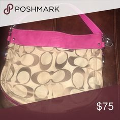 Pink and brown Coach Purse! Gently used, love this Purse! Coach Bags Shoulder Bags