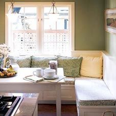 I'd love to do a very casual dining area like this off the kitchen in lieu of a formal dining room